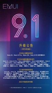 Opslaget fra Huawei på Weibo vedrørende EMUI 9.1 opdateringen