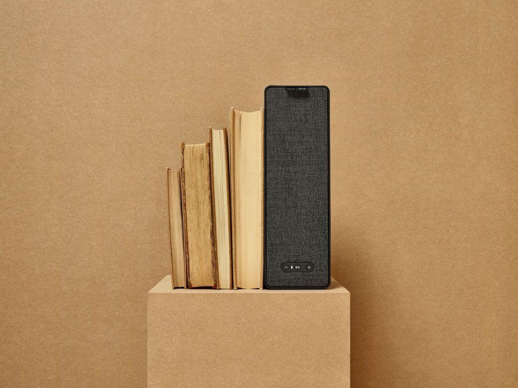 SYMFONISK wifi-højttaler. Kan bruges som boghylde eller bogstøtte (Foto: IKEA)