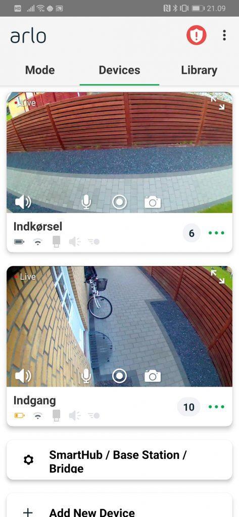 Skærmbillede fra Netgear Arlo Pro 2
