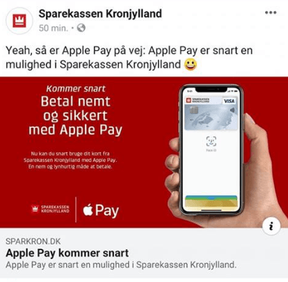 Sparekassen Kronjylland klar med Apple Pay