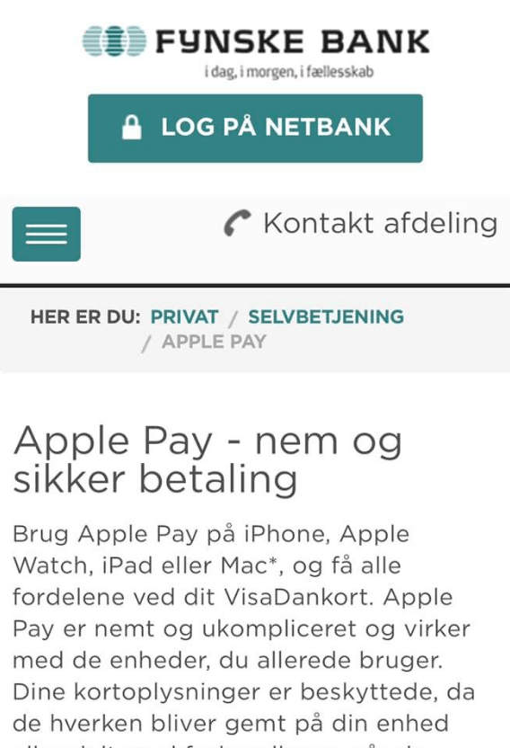Fynske Bank klar med Apple Pay