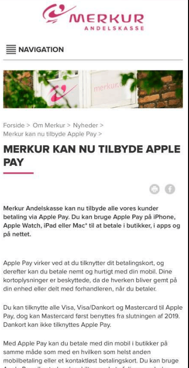Merkurbank klar med Apple Pay