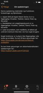 Screenshots fra Apple Watch om den nye opdatering (Kilde: MereMobil.dk)