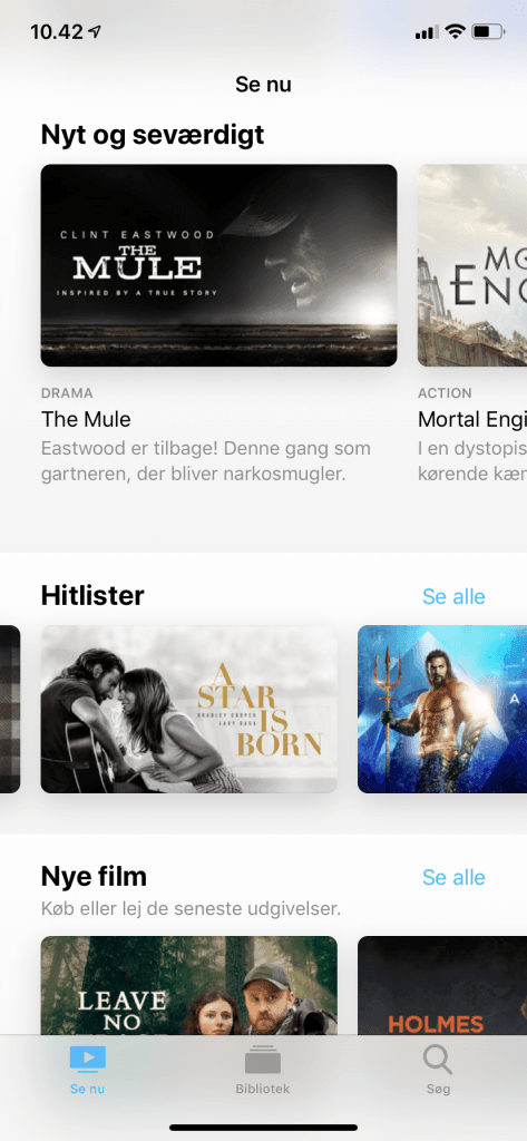 Screenshots fra Apple TV applikationen på iPhone (Kilde: MereMobil.dk)