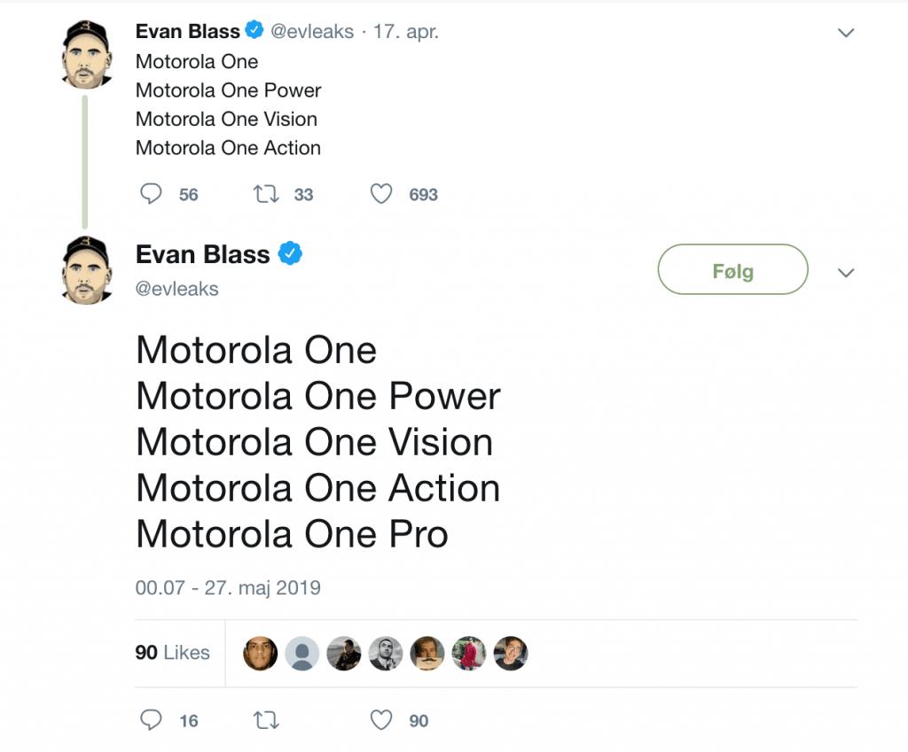 Tweet fra @EvLeaks, som afslører kommende Motorola telefoner (KIlde: Twitter @EvLeaks)