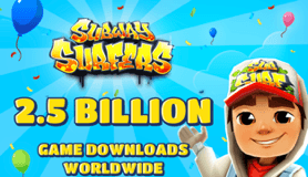 Subway Surfers downloadet 2,5 milliarder downloads (Kilde: Kiloo og SYBO)
