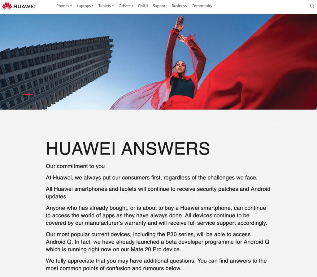 Officielt fra Huawei på deres website