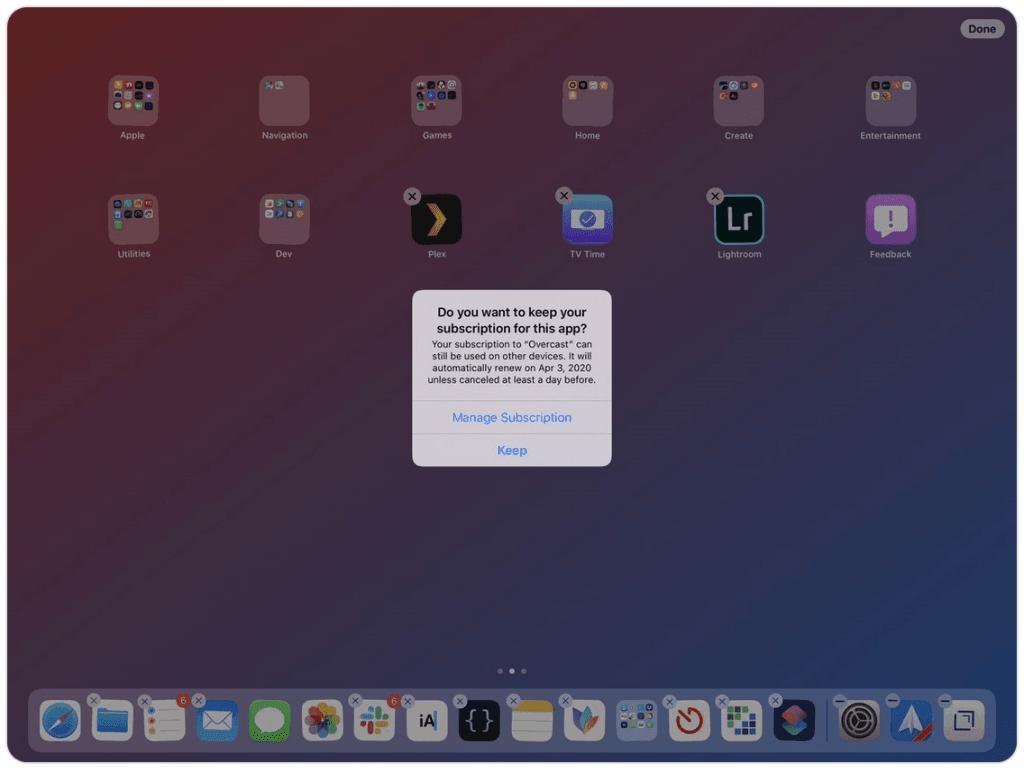 Screenshot af advarslen på iOS 13 ved sletning af apps med abonnement tilknyttet (Kilde: Twitter @viticci)