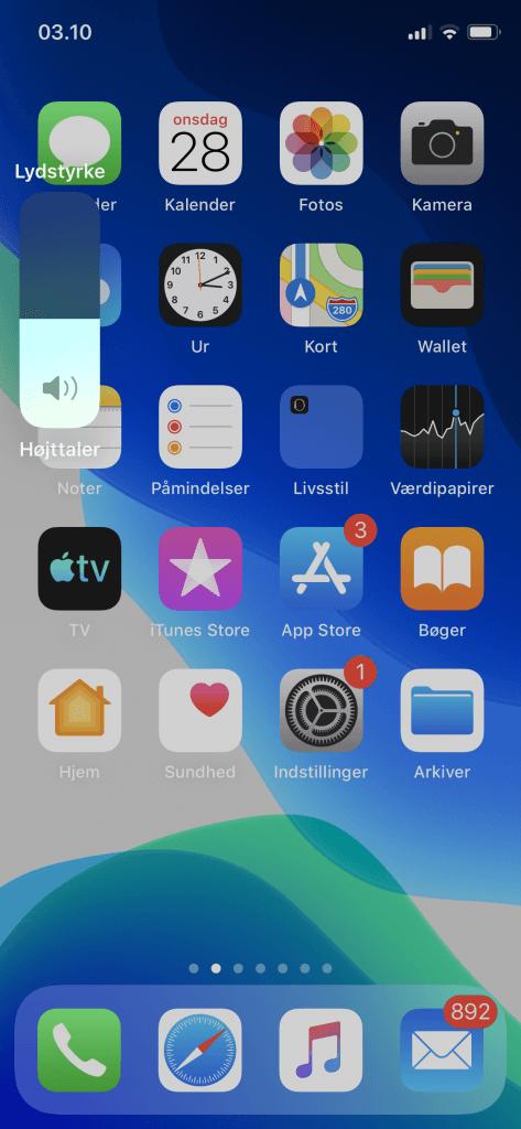 Nyt volume-HUD i iOS 13.1 (Foto: MereMobil)