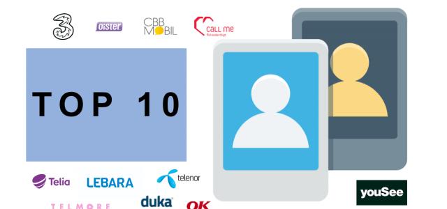 Top-10 mobilabonnementer