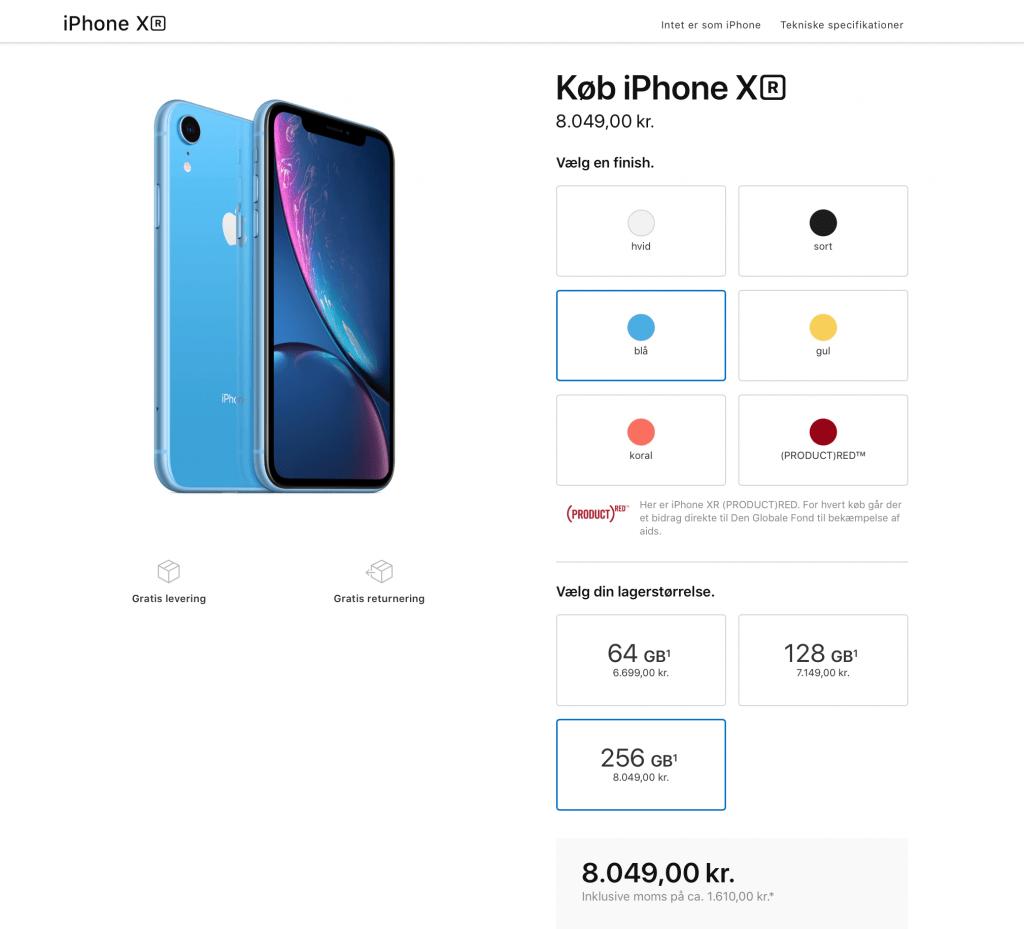 Prisen på iPhone Xr inden lanceringen af 2019-modellerne (Kilde: MereMobil.dk)