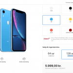 Prisen på iPhone Xr efter lanceringen af 2019-modellerne (Kilde: MereMobil.dk)