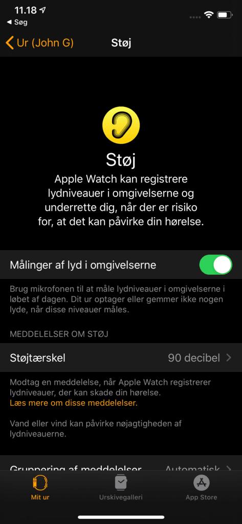 Indstillinger for Støj / hørelse i appen Watch