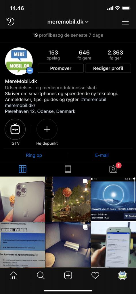 Instagram med dark mode (Foto: MereMobil.dk)