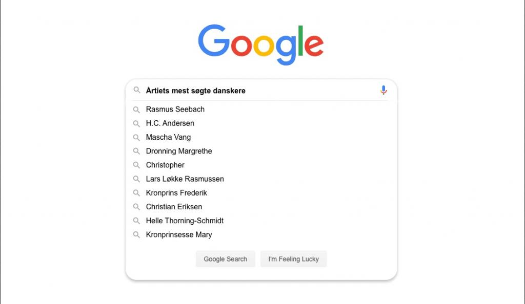 De mest googlede danskere i årtiet (Kilde: Google)
