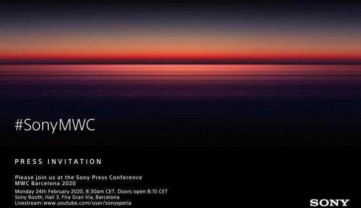 Invitation fra Sony til event i forbindelse med Mobile World Congress 2020 (Kilde: GSMArena.com)
