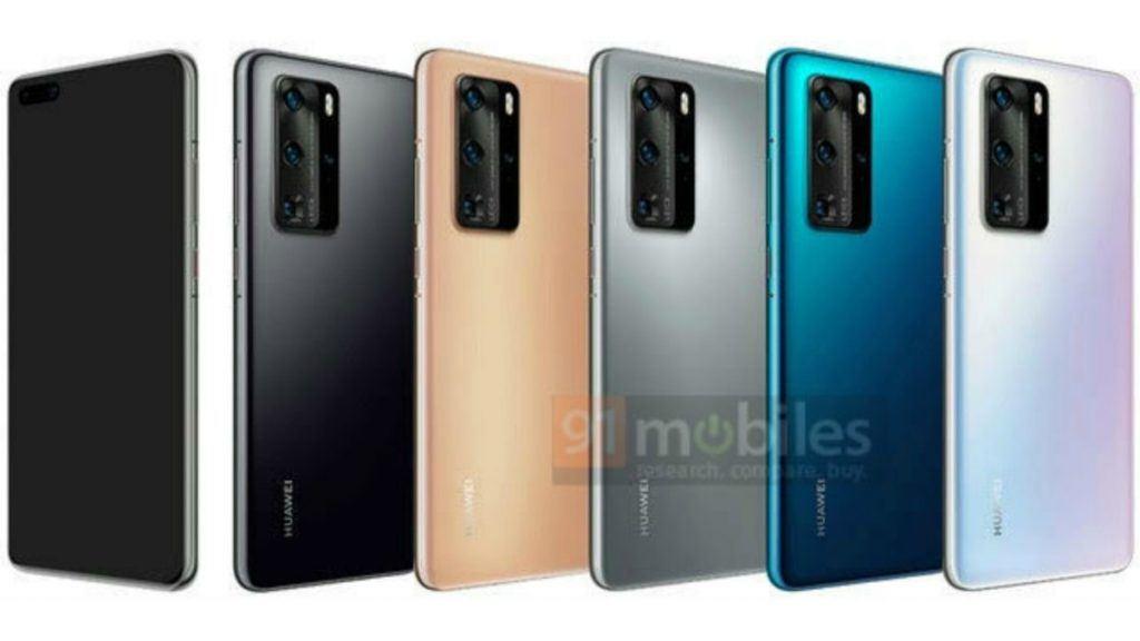 Huawei P40 Pro ventes at komme i disse farvevarianter (Kilde: 91mobiles)