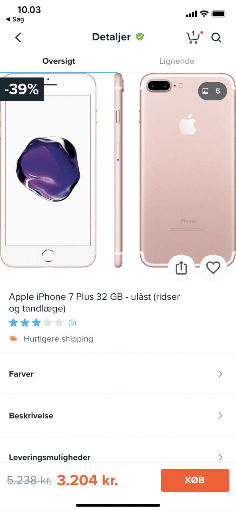 Annoncer på smartphones på Wish app'en (Kilde: Wish)
