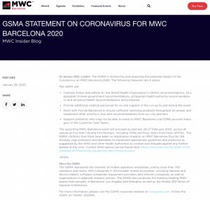 MWC corona virus statement