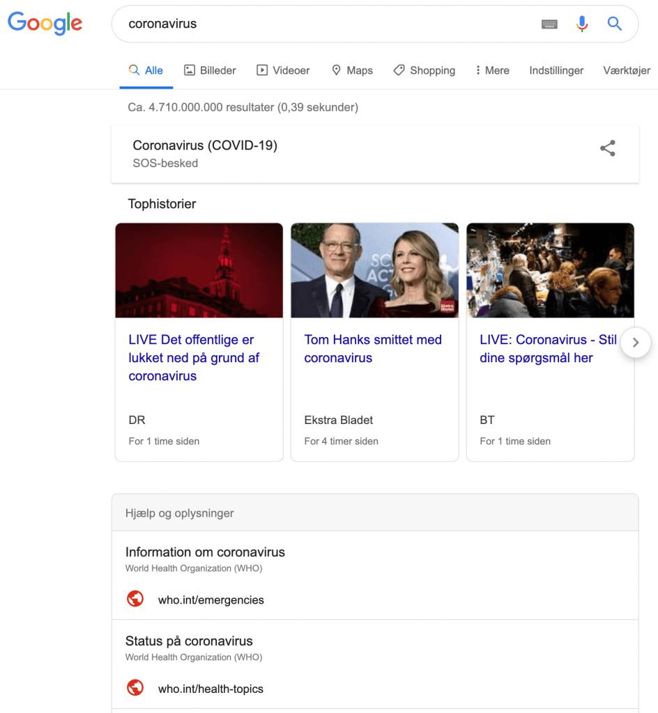 Google sos besked Coronavirus