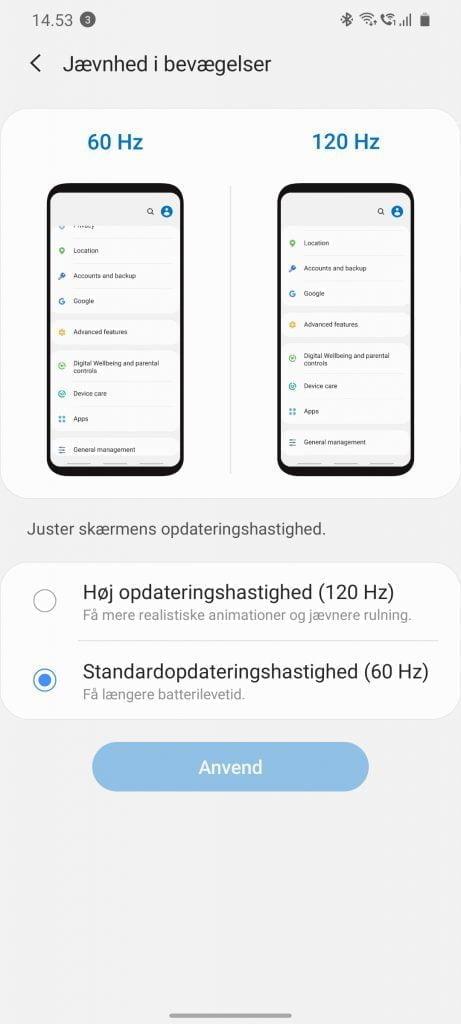 Skærmbillede fra Samsung Galaxy S20 Ultra