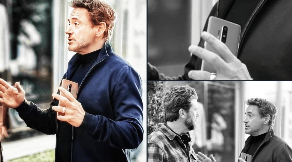 Robert Downey Jr. spottet med en telefon, som angiveligt er OnePlus 8 Pro (Foto: @TechDroider)