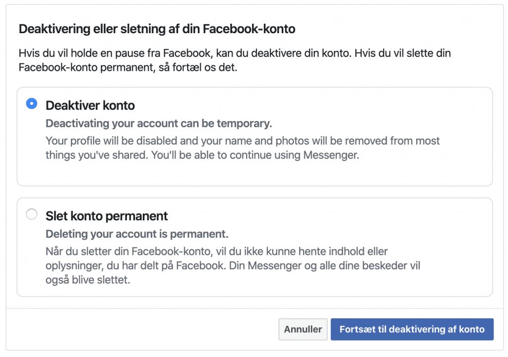 Deaktiver eller slet din Facebook konto