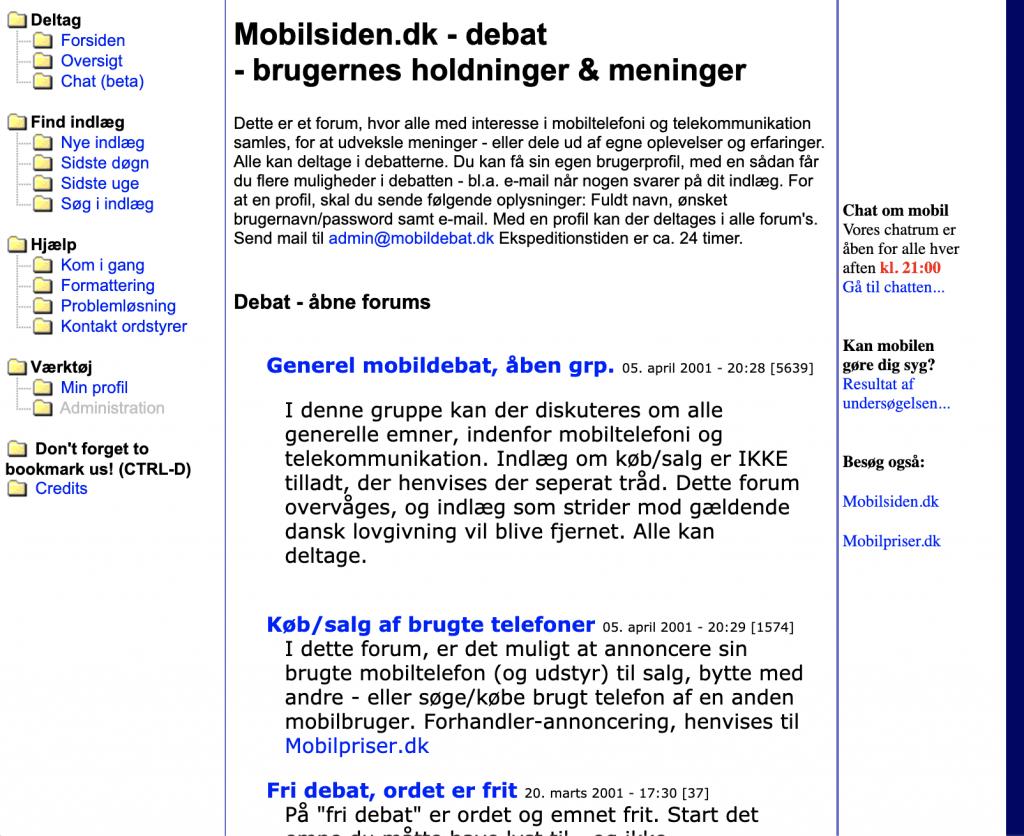 Mobildebat.dk 2001