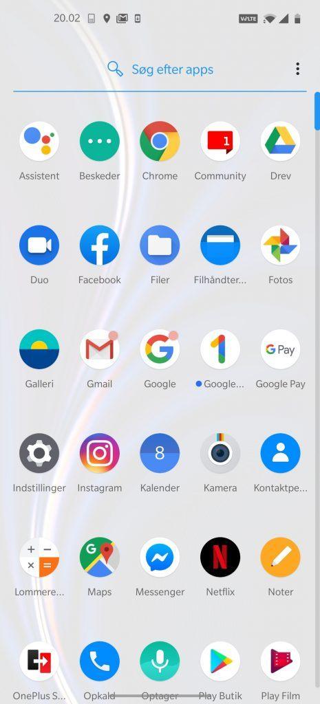 Skærmbillede fra OnePlus 8 Pro