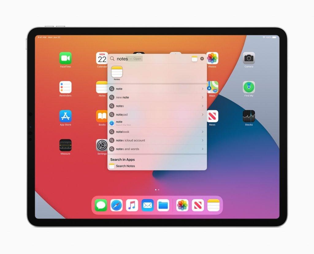 Den nye søgefunkjtion på iPadOS 14