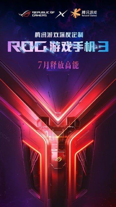 Asus lancerer i samarbejde med Tencent Games gamertelefonen ROG Phone III i juli måned (Kilde: Weibo)
