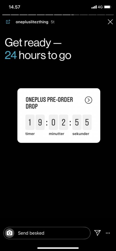 OnePlus teaser for salgsstarten af 100 eksklusive eksemplarer af den første telefon i OnePlus Nord-serien (Kilde: Stories fra OnePlus Instagram)