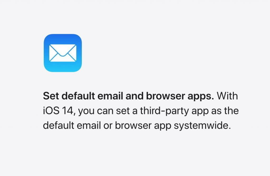 Standardapps til mail og browser kan ændres