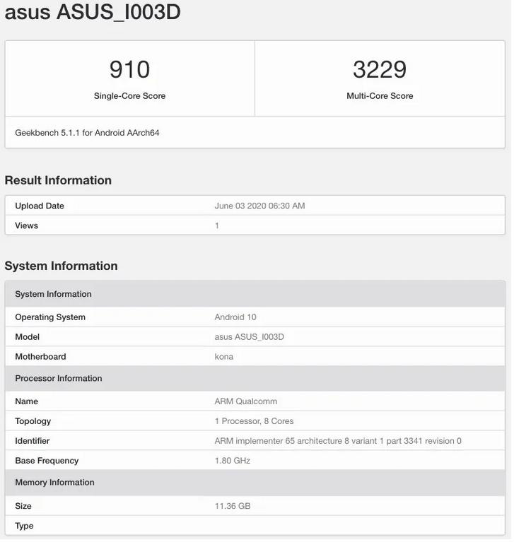 Ny Asus enhed spottet på Geekbench. Det ventes, at der er tale om Asus ROG Phone III (Kilde: Mysmartprice.com / Geekbench)