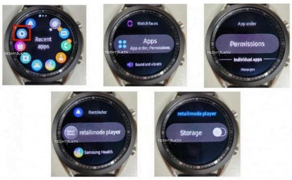 Skærmen på det kommende Galaxy Watch 3 fra Samsung (Kilde: MrTechTalkTV på Twitter)
