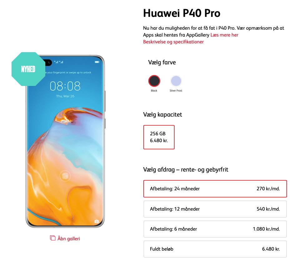 Huawei P40 Pro er kommet i sortiment hos Call Me (Kilde: Call Me)