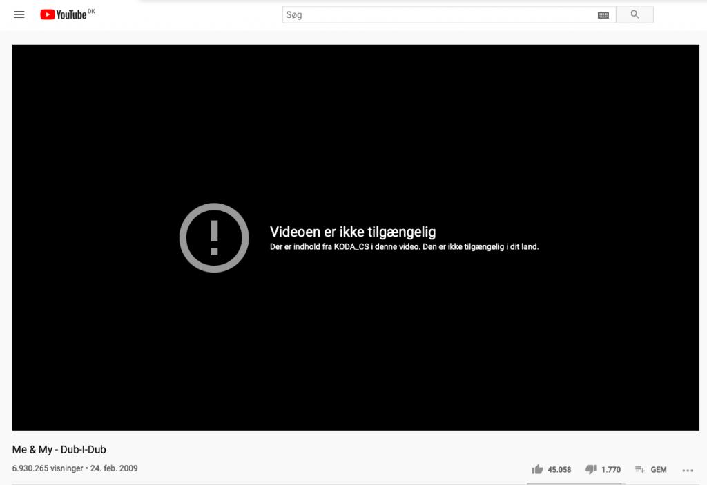 """Danske Me & My og deres kæmpehit """"Dub-i-Dub"""" er blokeret fra YouTube grundet manglende aftale med Koda (Kilde: YouTube)"""