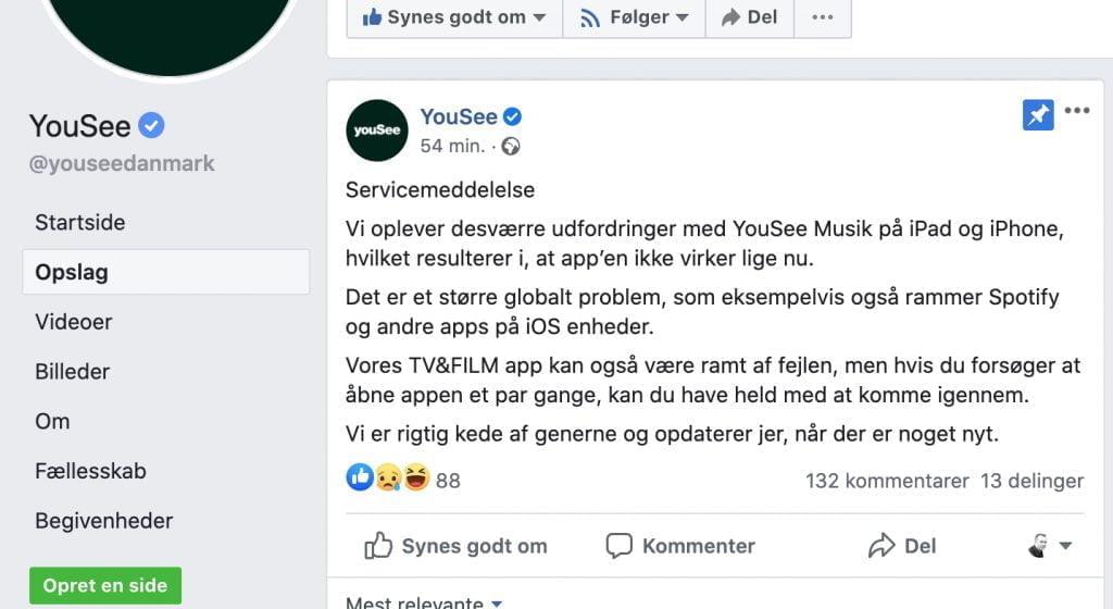 YouSee Facebook fejl opslag