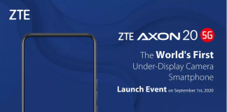 ZTE teaser for den kommende smartphone, Axon 20 5G, som er den første telefon med frontkameraet under skærmen