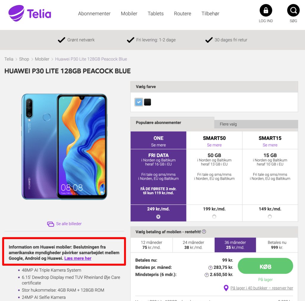 Telia-Huawei-advarsel