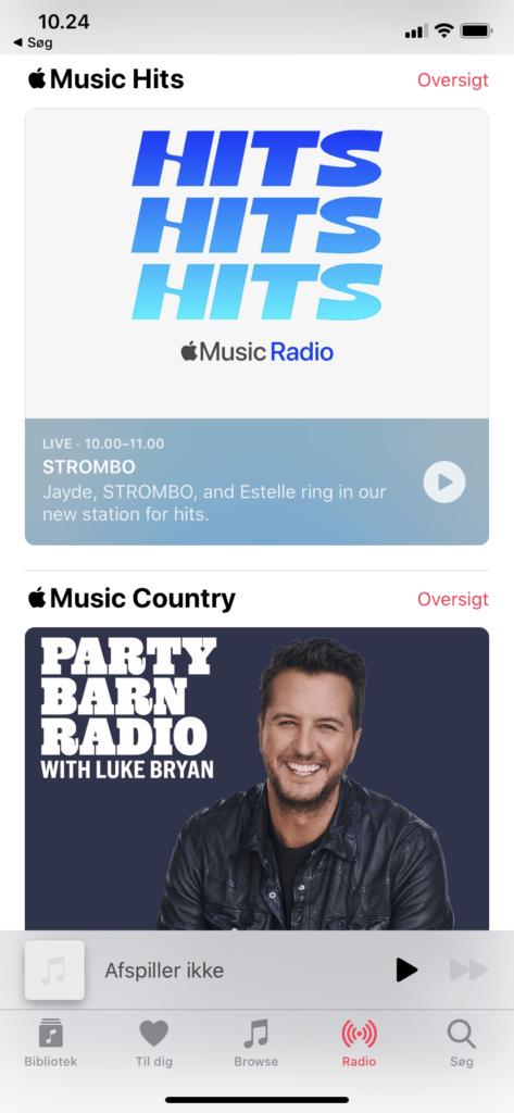 Apple Music Hits og Apple Music Country er to nye radiostationer fra Apple (Foto: MereMobil.dk)