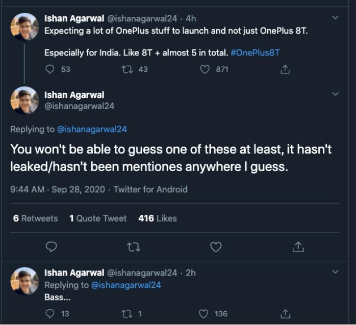 Ishan Agerwal har tweetet en del om det kommende OnePlus event (Kilde: Twitter)