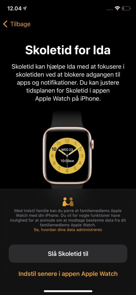 Funktionen Skoletid på Apple Watch