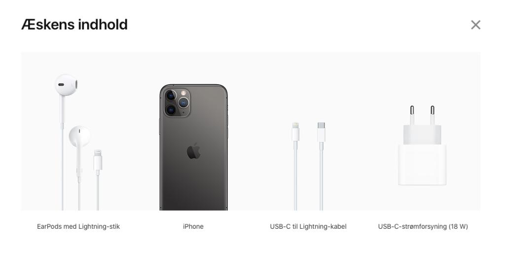 Sådan var indholdet i salgsæskerne til Apples iPhones indtil iPhone 12-serien blev præsenteret (Foto: MereMobil.dk)