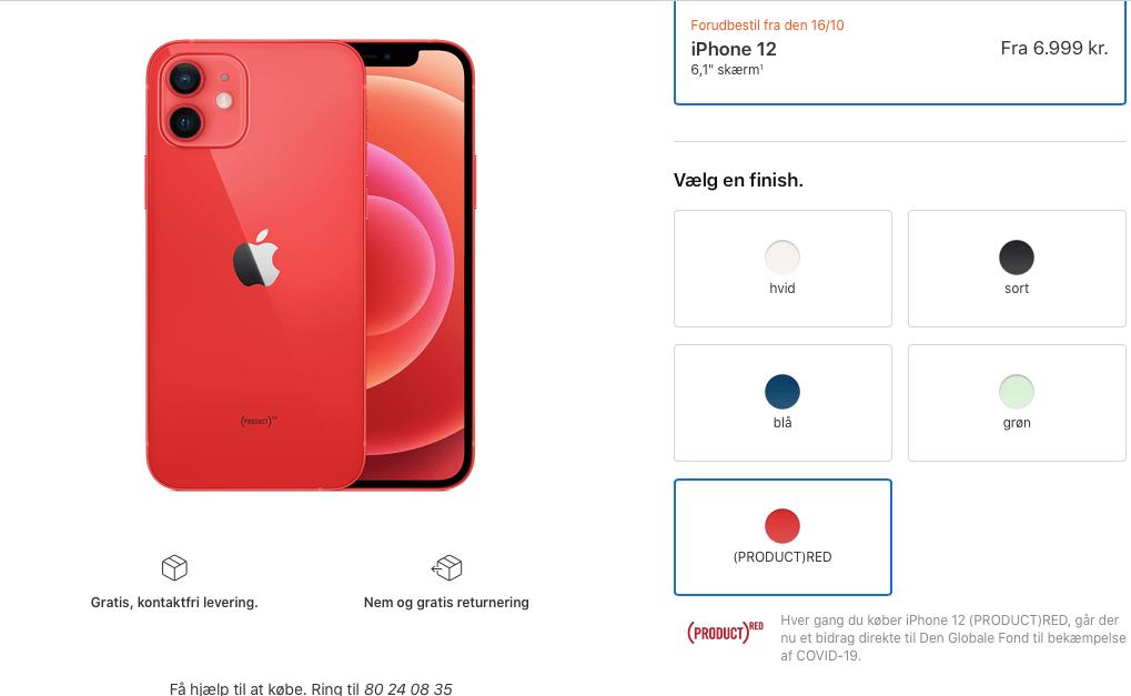 Vælger du iPhone 11, iPhone Xr, iPhone 12 og iPhone 12 mini, så kan disse vælges i farven ProductRED, hvilket giver et bidrag til den globale fond for bekæmpelse af covid-19 (Foto: MereMobil.dk)