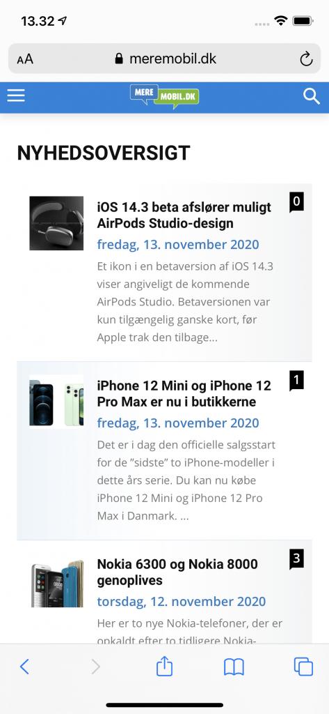 Besøg på MereMobil.dk med iPhone 12 (Foto: MereMobil.dk)