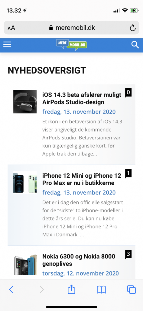 Besøg på MereMobil.dk med iPhone 12 Mini (Foto: MereMobil.dk)