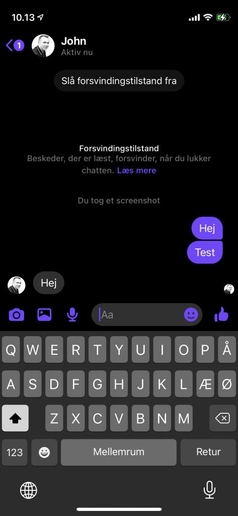 """Facebook er klar med en ny funktion, der hedder """"forsvindingstilstand"""" på Messenger (Foto: MereMobil.dk)"""