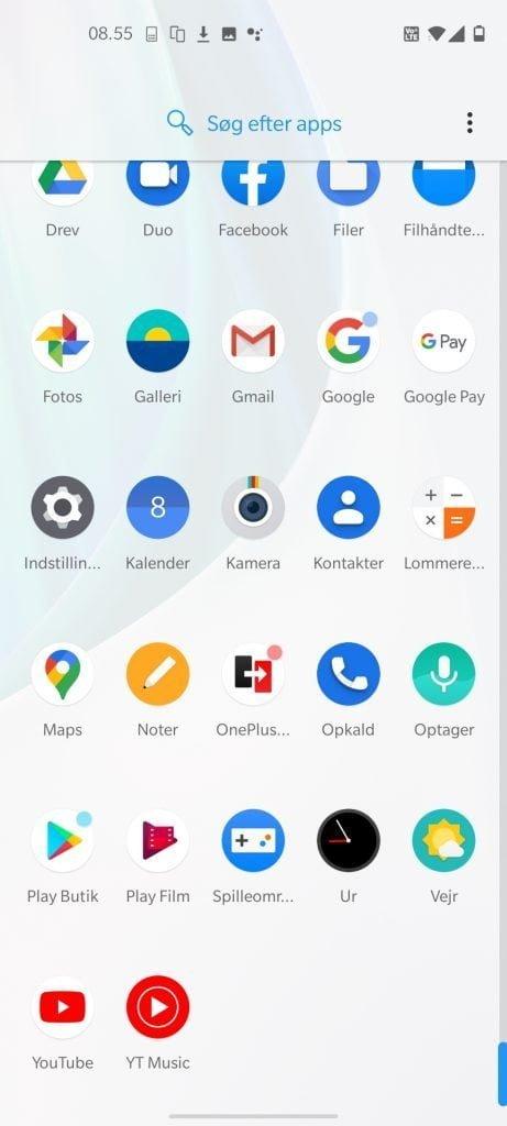 Skærmbillede fra OnePlus Nord N10 5G