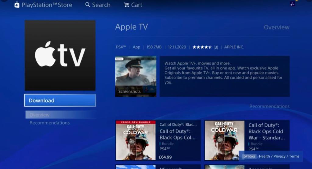 Apple TV appen kan nu downloades via PlayStation Network til PS4 og PS5 (Kilde: Sigmund Judge/Twitter)